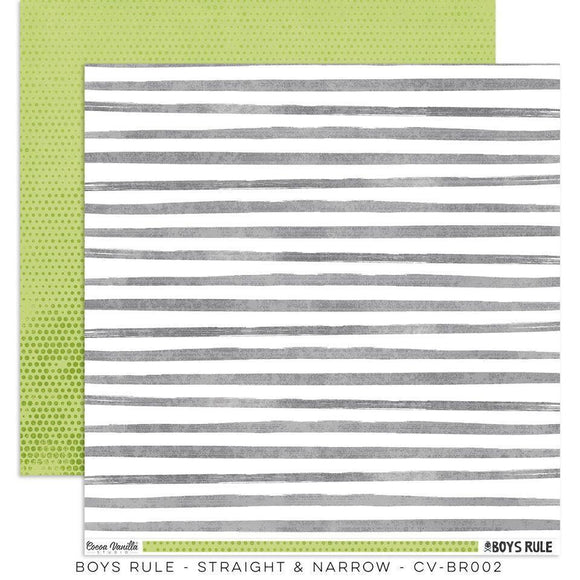 Scrapbooking  Boys Rule Paper 12x12 Double Sided - Straight & Narrow Paper Collections 12x12