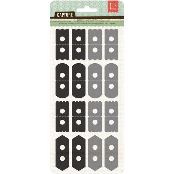 Scrapbooking  Capture Attach Me Stickers Black and Grey Paper Collections 12x12