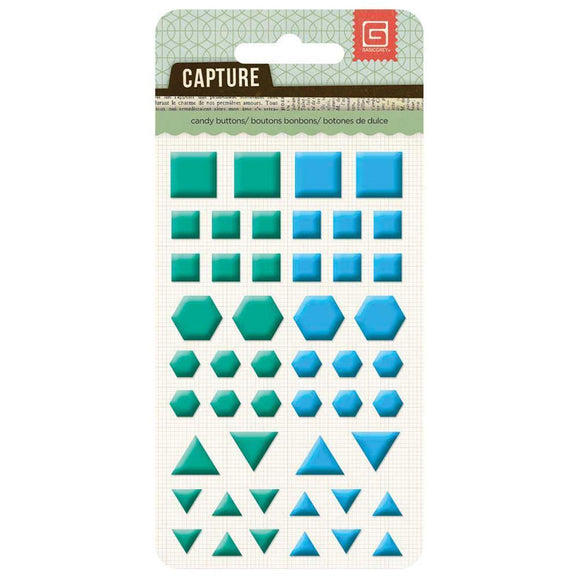 Scrapbooking  Capture Candy Buttons Blue & Green Shapes Paper Collections 12x12