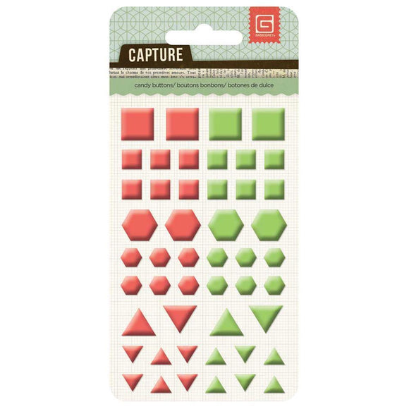 Scrapbooking  Capture Candy Buttons Coral & Grass Shapes Paper Collections 12x12
