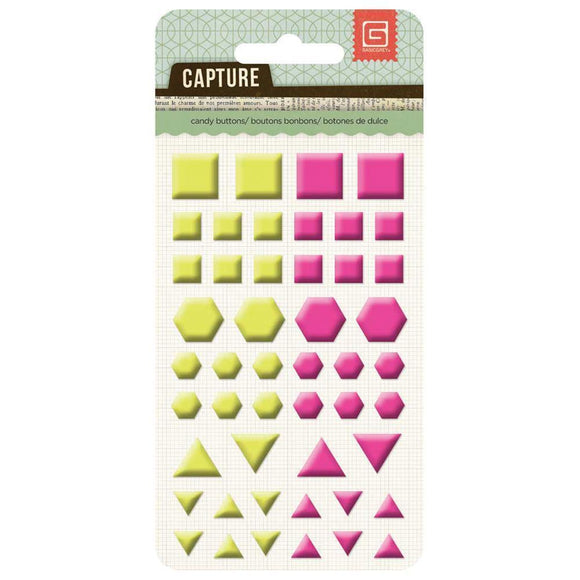 Scrapbooking  Capture Candy Buttons Yellow & Hot Pink Shapes Paper Collections 12x12