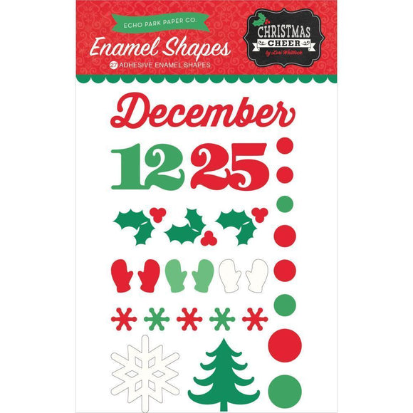 Scrapbooking  Christmas Cheer Adhesive Enamel Shapes Paper Collections 12x12