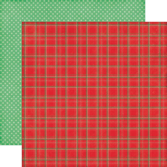 Scrapbooking  Christmas Cheer Holiday Plaid Paper 12x12 Paper Collections 12x12