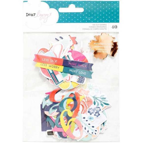 Scrapbooking  Dear Lizzy Lovely Day Ephemera Cardstock Die-Cuts 40/Pkg Paper Collections 12x12