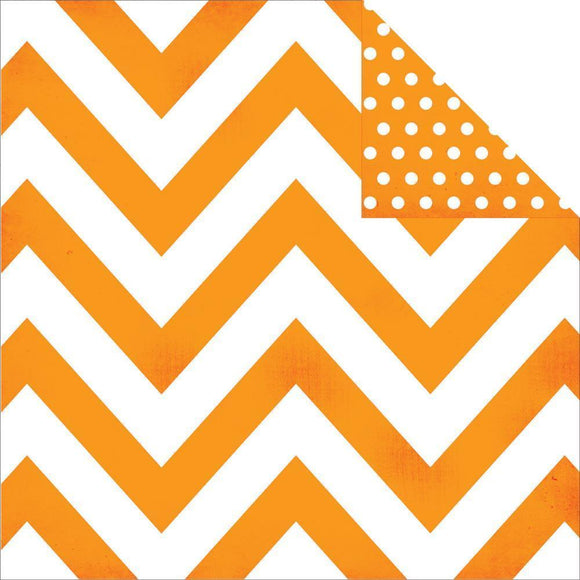 Scrapbooking  DIY Boutique Basics Orange Chevron and Dots Paper 12x12 Paper Collections 12x12