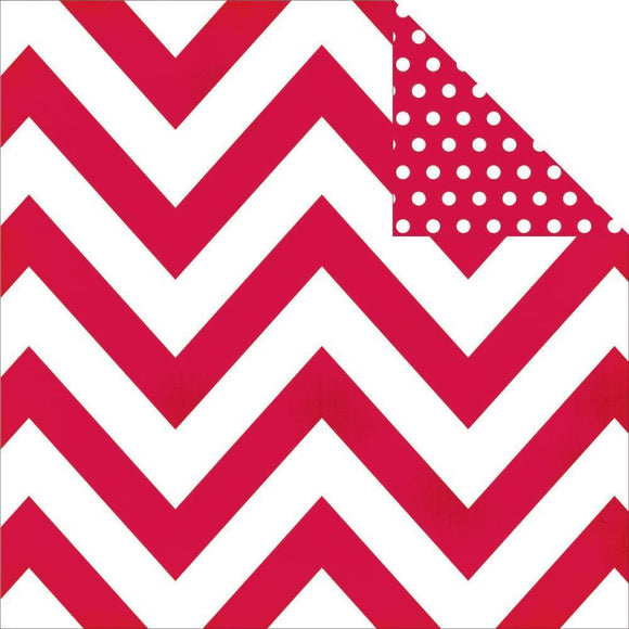 Scrapbooking  DIY Boutique Basics Red Chevron and Dots Paper 12x12 Paper Collections 12x12