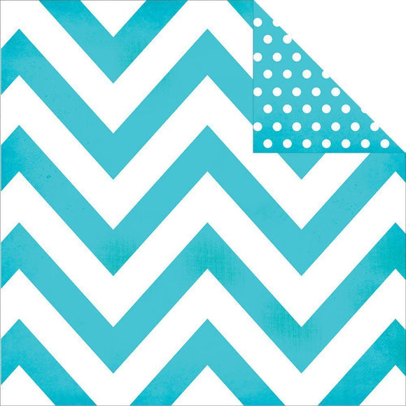 Scrapbooking  DIY Boutique Basics Teal Chevron and Dots Paper 12x12 Paper Collections 12x12