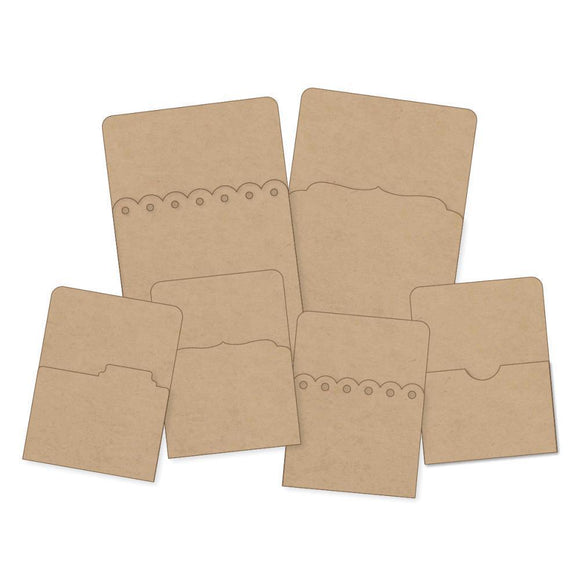 Scrapbooking  DIY Foundations Kraft Pockets 6/Pkg Paper Collections 12x12