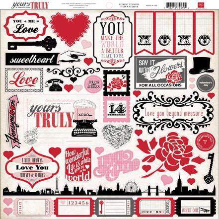 Scrapbooking  Echo Park Yours Truly 12 X 12 Element Stickers Paper Collections 12x12