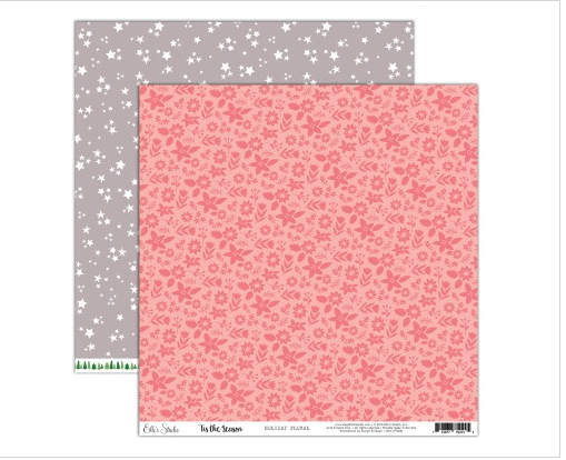 Scrapbooking  Elles Studio - Tis the Season Holiday Floral Paper 12x12 Paper Collections 12x12
