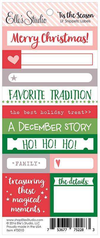 Scrapbooking  Elles Studio - Tis the Season Lil Snippets Word Labels Paper Collections 12x12