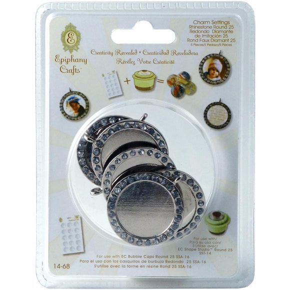 Scrapbooking  Epiphany Crafts Metal Charm Settings with Rhinestones 25mm Round Paper Collections 12x12