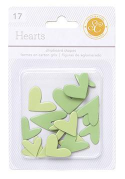 Scrapbooking  Essentials Chipboard Hearts - Green Paper Collections 12x12