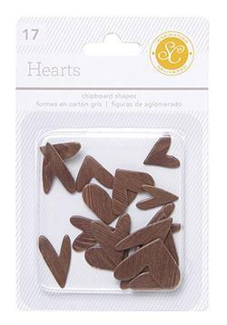 Scrapbooking  Essentials Chipboard Hearts - Woodgrain Paper Collections 12x12