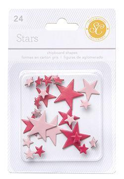 Scrapbooking  Essentials Chipboard Stars Red and Pink Paper Collections 12x12