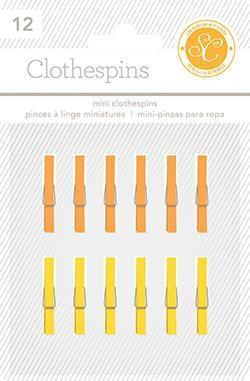 Scrapbooking  Essentials Clothespins Yellow and Orange Paper Collections 12x12