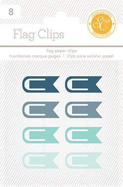 Scrapbooking  Essentials Plastic Flag Paper Clips Blue and Aqua Paper Collections 12x12