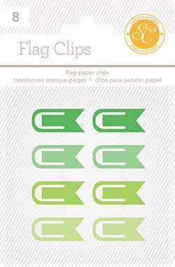 Scrapbooking  Essentials Plastic Flag Paper Clips Greens Paper Collections 12x12