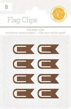 Scrapbooking  Essentials Plastic Flag Paper Clips Woodgrain Paper Collections 12x12
