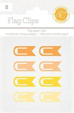 Scrapbooking  Essentials Plastic Flag Paper Clips Yellow and Orange Paper Collections 12x12