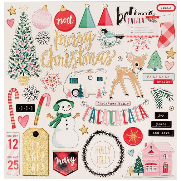 Scrapbooking  Fa La La Chipboard Stickers 12