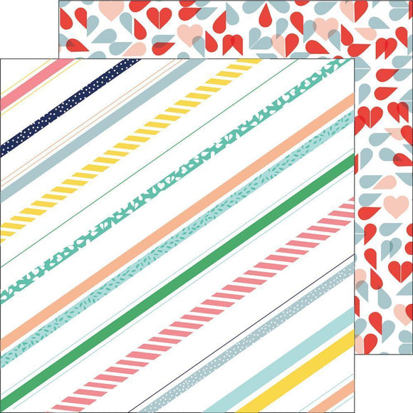 Scrapbooking  Felicity - Pretty Stripes Paper 12x12 Paper Collections 12x12