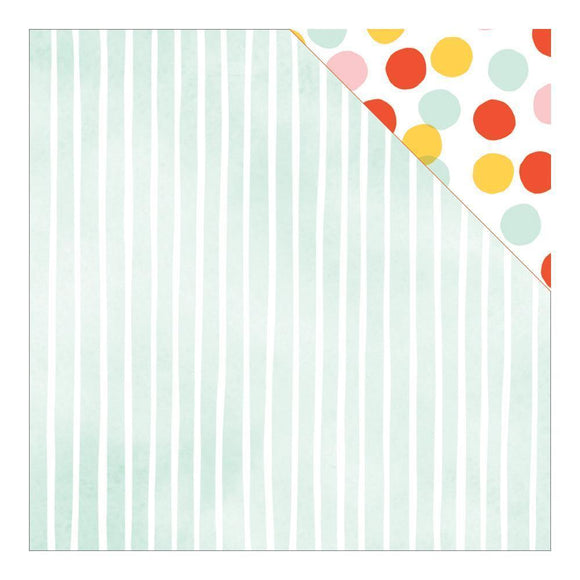 Scrapbooking  Fine and Dandy Stripey Straws Paper 12x12 Paper Collections 12x12