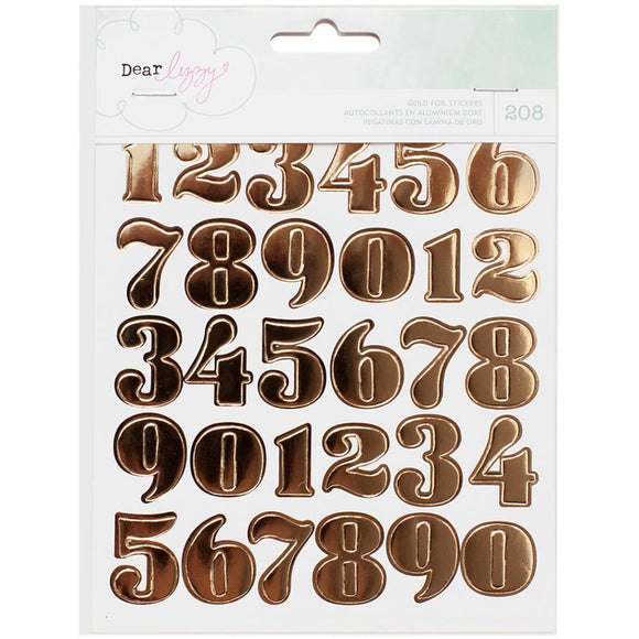 Scrapbooking  Fine & Dandy Sticker Book 6/Pages Gold Foil Numbers, Hearts & Circles Paper Collections 12x12