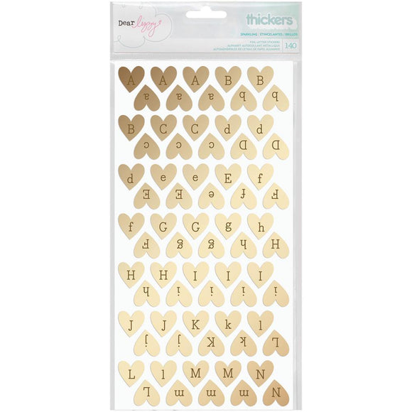 Scrapbooking  Fine & Dandy Thickers Alpha Stickers 5.5x11 2/Pkg Sparkling Hearts/Gold Foiled Chipboard Paper Collections 12x12