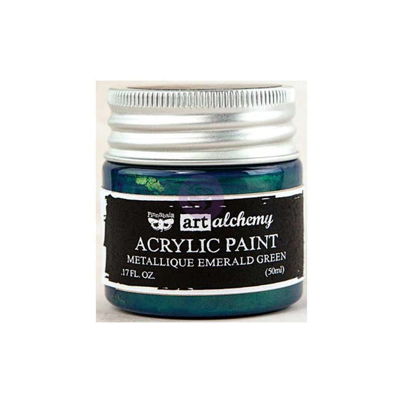 Scrapbooking  Finnabair Art Alchemy Acrylic Paint 1.7 Fluid Ounces - Metallique Emerald Green Paper Collections 12x12