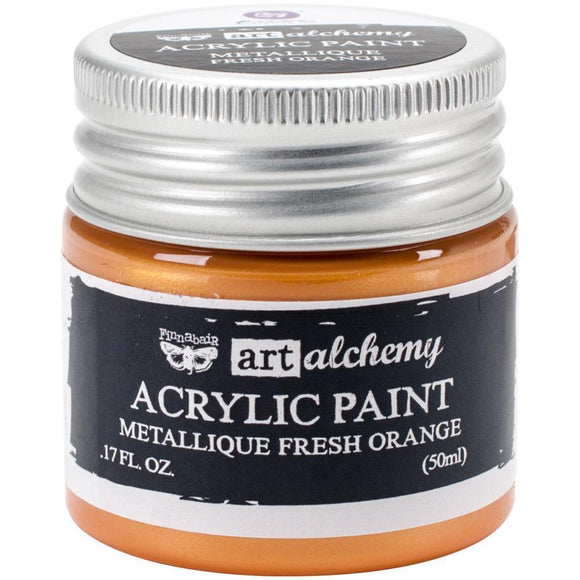 Scrapbooking  Finnabair Art Alchemy Acrylic Paint 1.7 Fluid Ounces - Metallique Fresh Orange Paper Collections 12x12