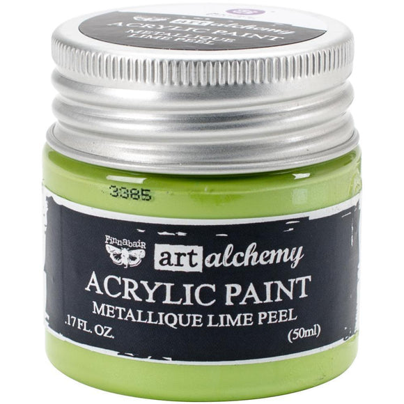 Scrapbooking  Finnabair Art Alchemy Acrylic Paint 1.7 Fluid Ounces - Metallique Lime Peel Paper Collections 12x12