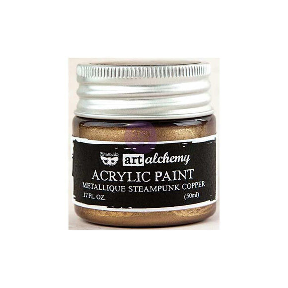 Scrapbooking  Finnabair Art Alchemy Acrylic Paint 1.7 Fluid Ounces - Metallique Steampunk Copper Paper Collections 12x12