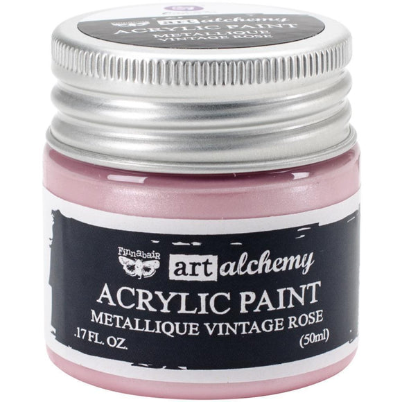Scrapbooking  Finnabair Art Alchemy Acrylic Paint 1.7 Fluid Ounces - Metallique Vintage Rose Paper Collections 12x12