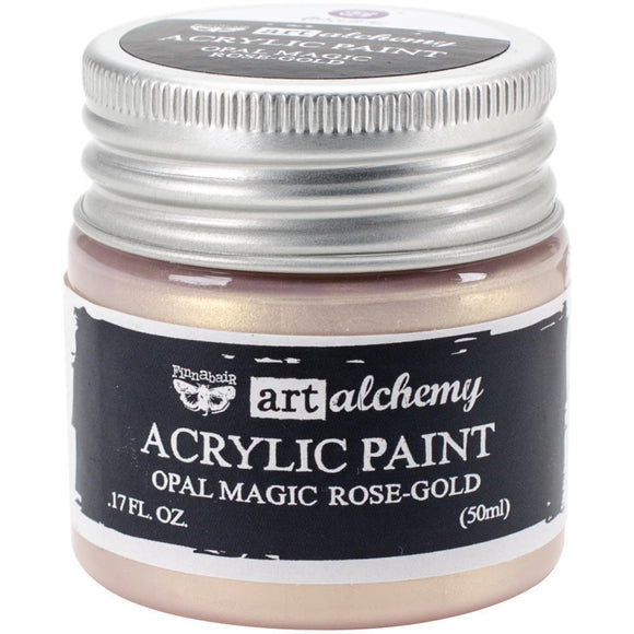 Scrapbooking  Finnabair Art Alchemy Acrylic Paint 1.7 Fluid Ounces - Opal Magic Rose/Gold Paper Collections 12x12