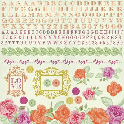 Scrapbooking  Flora Delight Sticker Sheet Paper Collections 12x12
