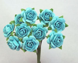 Scrapbooking  Green Tara 1.5 cm Sky Blue Roses 10pc Paper Collections 12x12