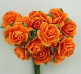 Scrapbooking  Green Tara 1.5cm Orange Roses 10pc Paper Collections 12x12