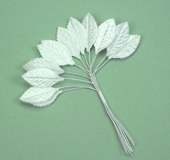 Scrapbooking  Green Tara  3cm Velvet Leaf Spray White 12pc Paper Collections 12x12