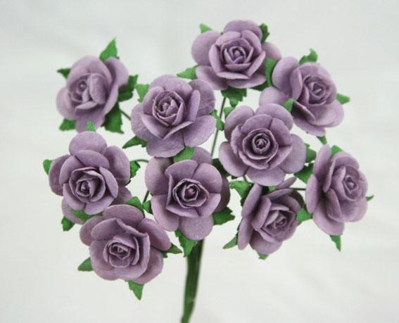 Scrapbooking  Green Tara Lavender 2cm Roses 10pc Paper Collections 12x12