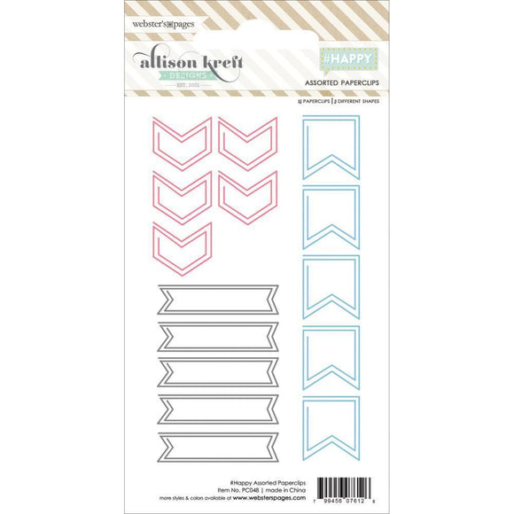 Scrapbooking  #Happy Assorted Paper Clips 15pc Paper Collections 12x12