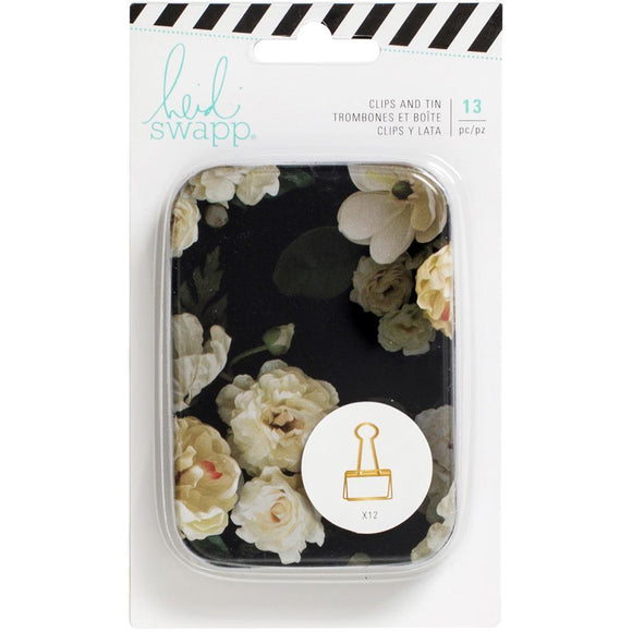 Scrapbooking  Heidi Swapp Magnolia Jane Gold Binder Clips 12/Pkg In A Reusable Tin Paper Collections 12x12