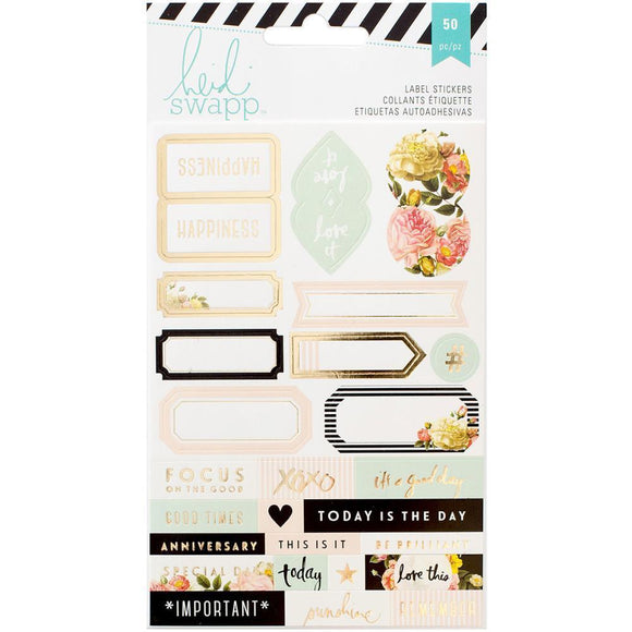 Scrapbooking  Heidi Swapp MP Label Stickers 50pk Paper Collections 12x12