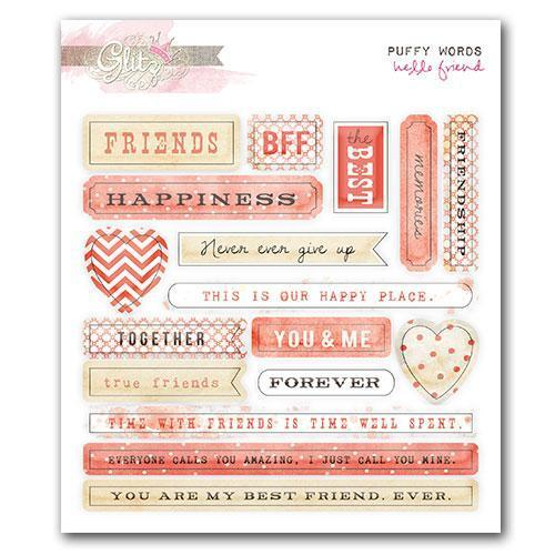 Scrapbooking  Hello Friend Puffy Word Stickers Paper Collections 12x12