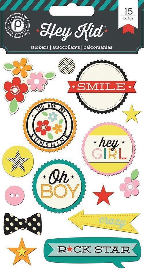 Scrapbooking  Hey Kid Layered Chip Stickers Paper Collections 12x12