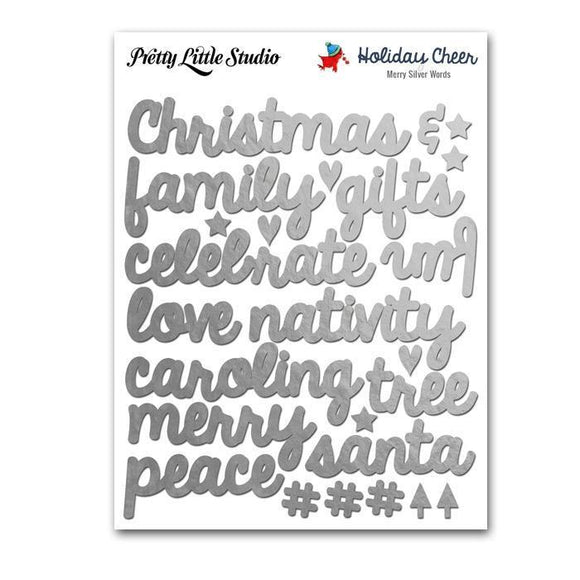 Scrapbooking  Holiday Cheer Silver Merry Word Stickers Paper Collections 12x12
