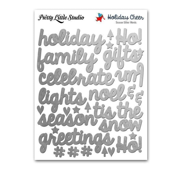 Scrapbooking  Holiday Cheer Silver Season Word Stickers Paper Collections 12x12