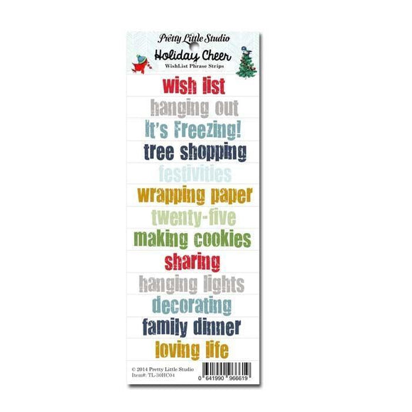 Scrapbooking  Holiday Cheer Wishlist Phrase Cutout Strips Paper Collections 12x12