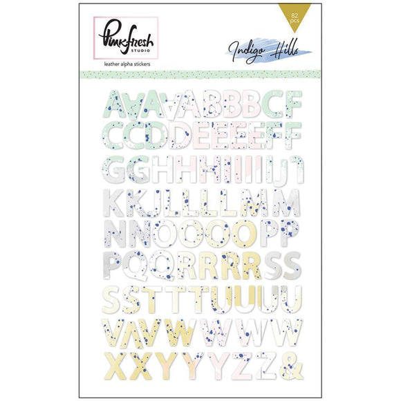 Scrapbooking  Indigo Hills Faux Leather Alpha Stickers 5