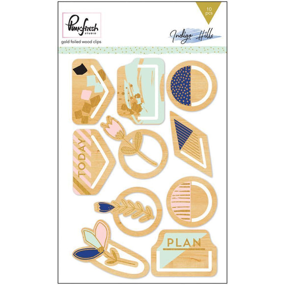 Scrapbooking  Indigo Hills Gold Foiled Wooden Clips Paper Collections 12x12